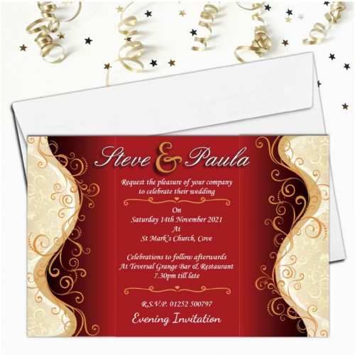 10 Personalised Red & Gold Wedding Invitations Day/Evening N32